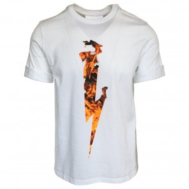 Neil Barrett White Flame Thunderbolt Crewneck T-Shirt