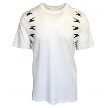 Neil Barrett White 'Meteorite Arm' Crewneck T-Shirt