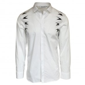 Neil Barrett White Shirt with Meteorite Pattern
