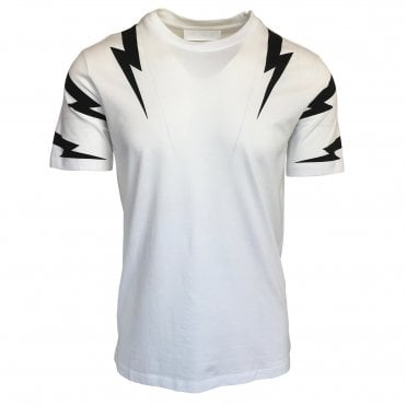 Neil Barrett White 'Tiger Bolt' Crewneck T-Shirt