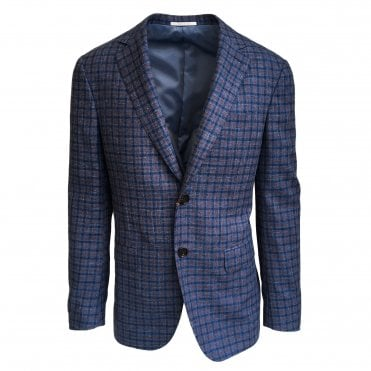 Pal Zileri Blue Jacket with Brown Check