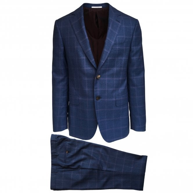 Pal Zileri Blue Suit with Lilac Check