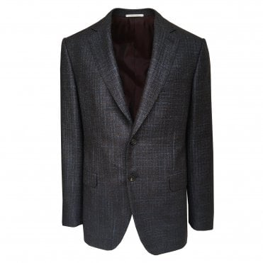 Pal Zileri Brown with Blue Mini Check Jacket