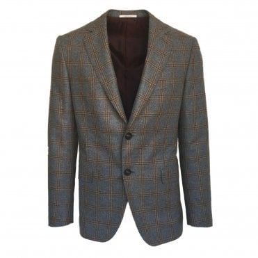 Pal Zileri Grey Jacket with Brown Check