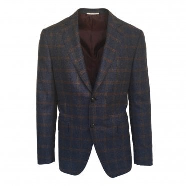 Pal Zileri Navy Jacket with Brown Check