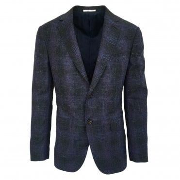 Pal Zileri Navy Jacket with Disrupted Multicolour Check