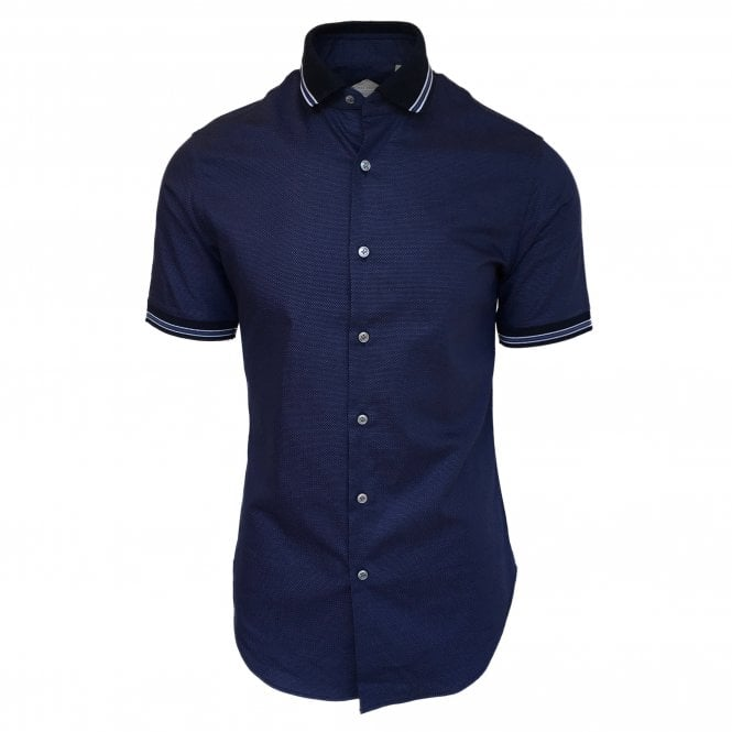 Pal Zileri Navy Polo Collar Shirt