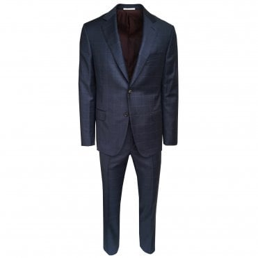 Pal Zileri Navy Suit With Orange Check