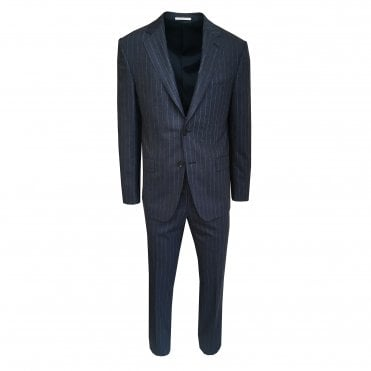 Pal Zileri Navy Suit With White Pinstripe