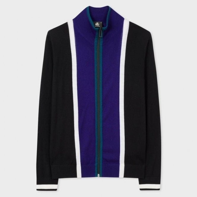 Paul Smith Black And Blue Stripe Merino Wool Funnel Neck Zip Cardigan PTXD/661R/891 46