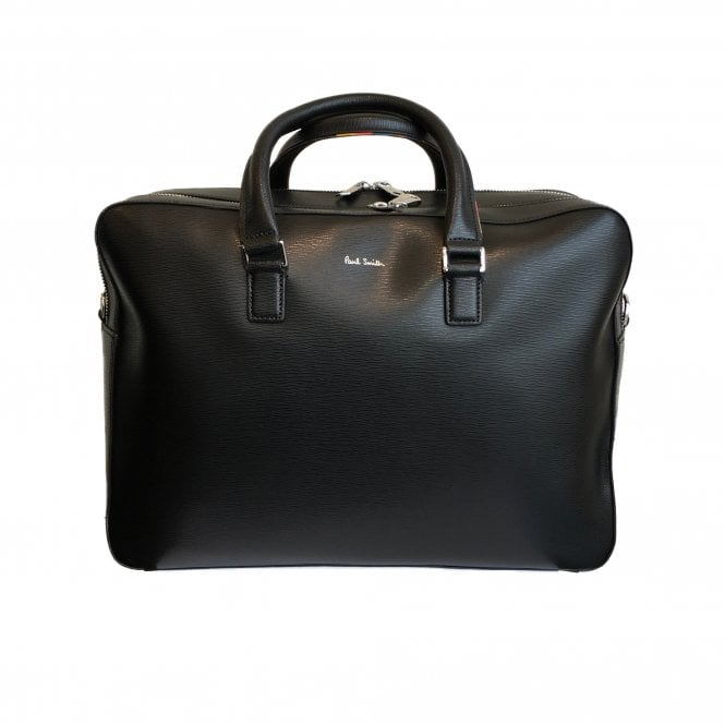 Paul Smith Black Artist Stripe Leather Man Bag