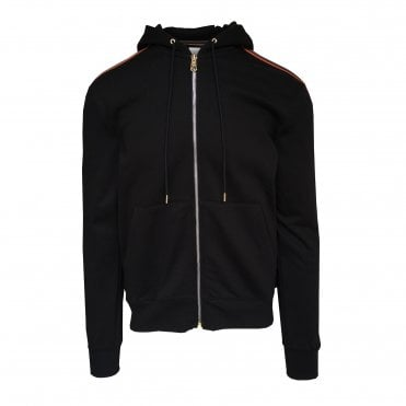 Paul Smith Black Hooded Sweat with Artist-stripe Detail