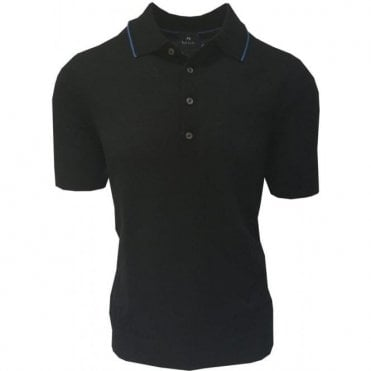 Paul Smith Black Knitted Merino Wool Short-Sleeve Polo Shirt PUXD/883R/681 79