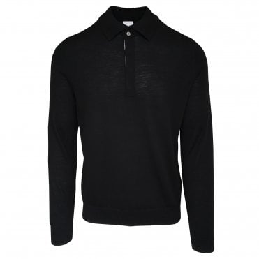Paul Smith Black Long-Sleeve Merino Wool Polo Shirt
