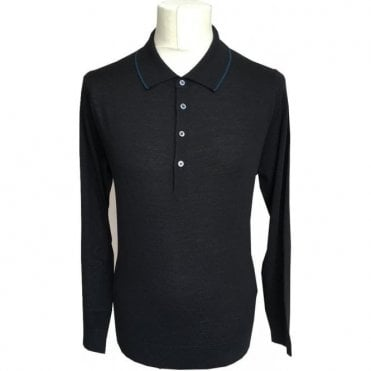 Paul Smith Black Merino Wool Long-Sleeve Polo Shirt PTXD/623R/879 79