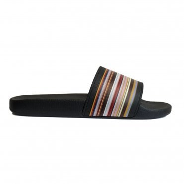 Paul Smith Black Signature Stripe 'Ruben' Sliders