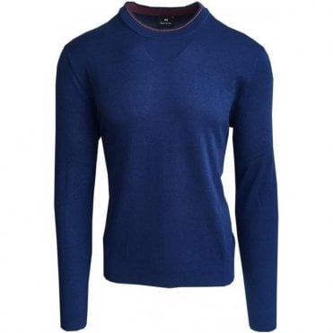 Paul Smith Blue Crewneck Sweater With Contrasting Trim PUXD/848R/676 47