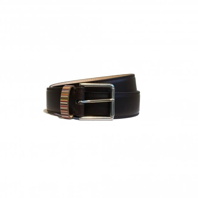 Paul Smith Brown Leather Belt With Rainbow Stripe Detail