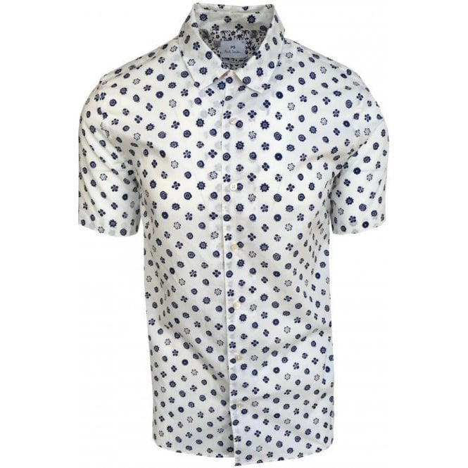 Paul Smith Casual Fit White Short-Sleeve Spiral Flower Print Shirt PUXD/114R/663 02