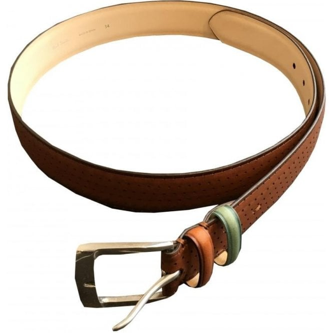 Paul Smith Dot Burnish Tan Cow Leather Belt AUCX/5346/B836 62