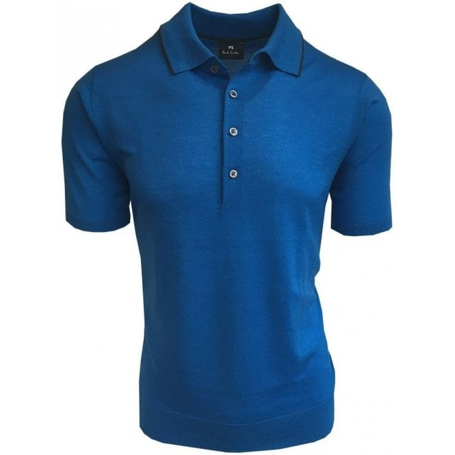 Paul Smith Electric Blue Knitted Merino Wool Short-Sleeve Polo Shirt PUXD/883R/681 42