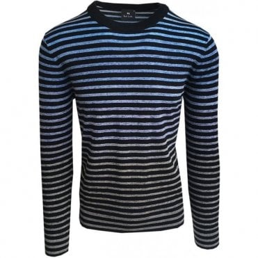 Paul Smith Faded Blue Striped Crewneck Jumper PUXD/890R/700 40