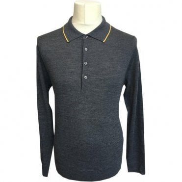 Paul Smith Grey Long-Sleeve Merino Wool Polo Shirt PTXD/623R/879 74