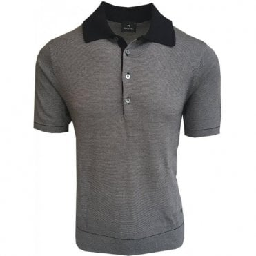Paul Smith Grey/Navy Stripe Knitted Short-Sleeve Polo Shirt PUXD/888R/676 49