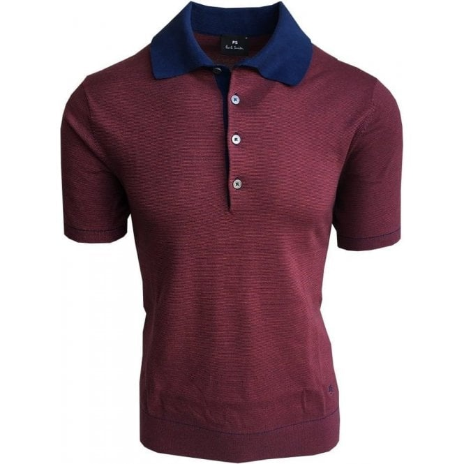 Paul Smith Knitted Red Striped Short-Sleeve Polo Shirt PUXD/888R/676 47