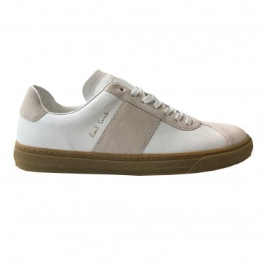 Paul Smith 'Levon' White Calf Leather Trainers With Beige Panel Details
