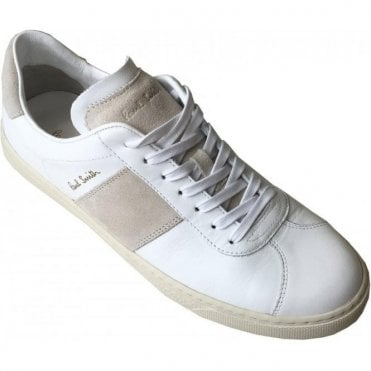Paul Smith 'Levon' White Calf Leather Trainers With Beige Panel Details SUXC/V058/LEA 01