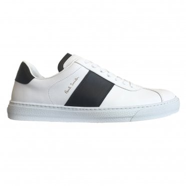 Paul Smith 'Levon' White Calf Leather Trainers With Black Panel Details