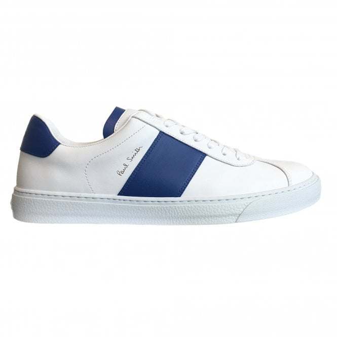 Paul Smith 'Levon' White Calf Leather Trainers With Blue Panel Details