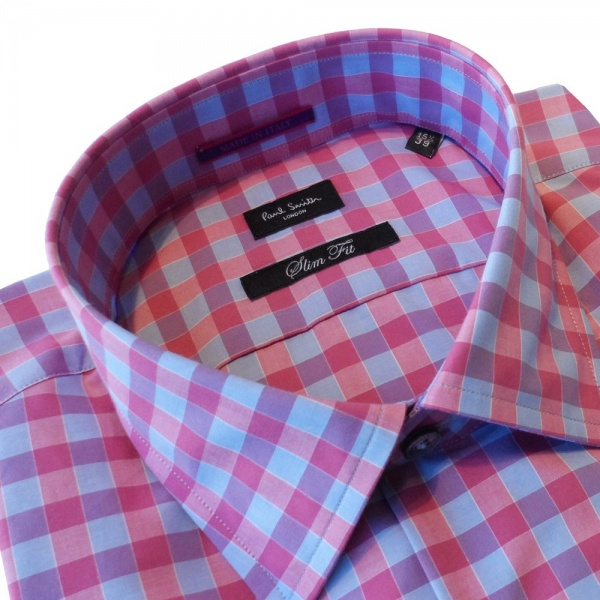 Smith London Slim Fit Check Shirt in Pink. PHXL-659A-B50-P