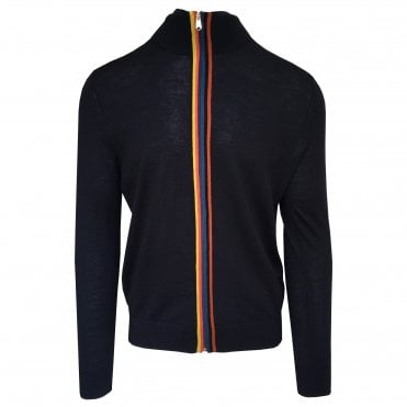 Paul Smith Navy Artist-stripe Zip Up Cardigan