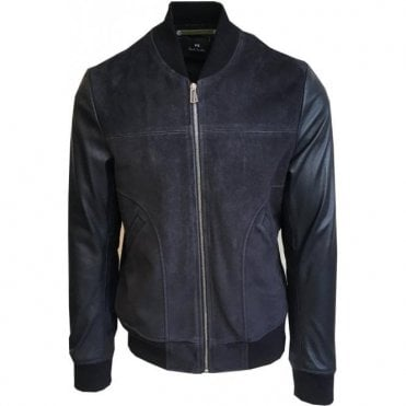 Paul Smith Navy/Black Goat Suede/Lamb Leather Blend Bomber Jacket PUXD/930R/562 49
