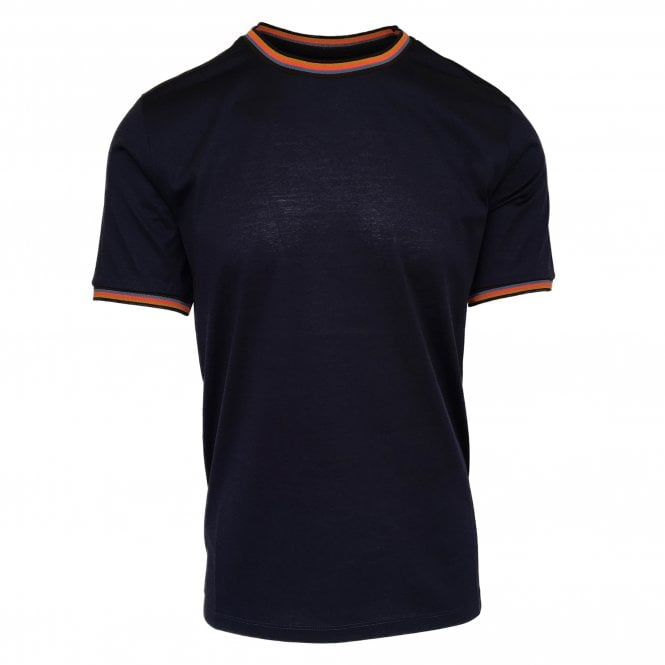 Paul Smith Navy Cotton T-Shirt with Artist Stripe