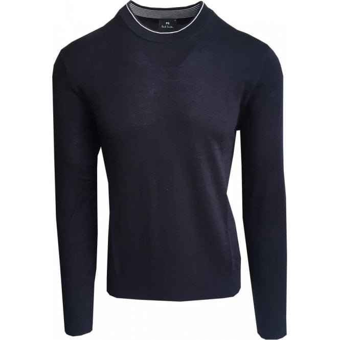 Paul Smith Navy Crewneck Sweater With Contrast Trim PUXD/848R/676 49
