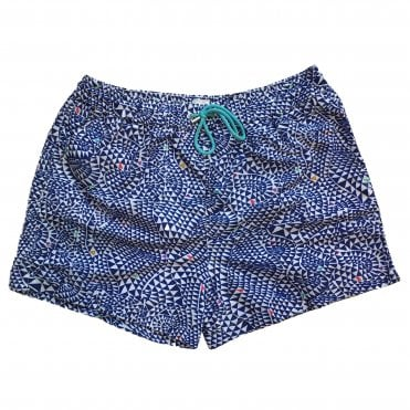 Paul Smith Navy 'Diamond Wave' Print Swimming Shorts