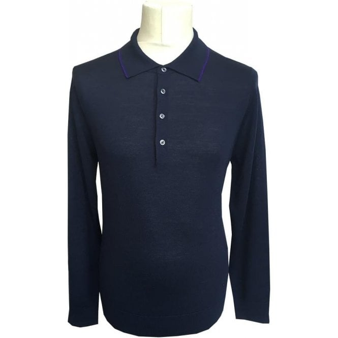 Paul Smith Navy Knitted Merino Wool Polo Shirt PTXD/623R/879 49