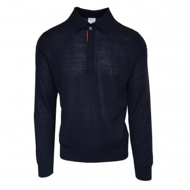 Paul Smith Navy Long-Sleeve Merino Wool Polo Shirt