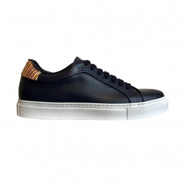 Paul Smith Navy Perforated Leather 'Basso' Trainer