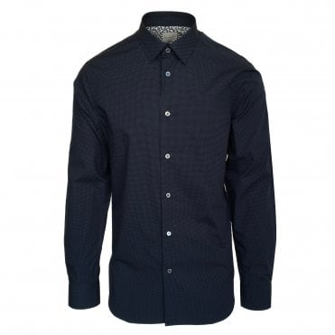 Paul Smith Navy Shirt with White Micro-Dot Pattern