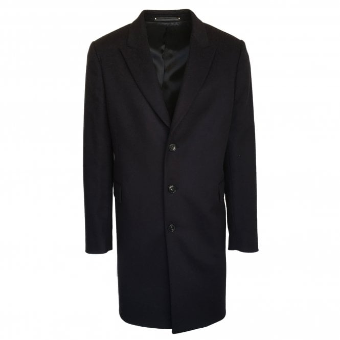 Paul Smith Navy Wool & Cashmere Blend Peak-Lapel Overcoat