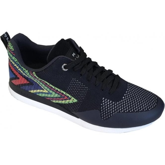 Paul Smith 'Rappid' Navy Chev Knitted Trainers SUXD/V118/NYL 49