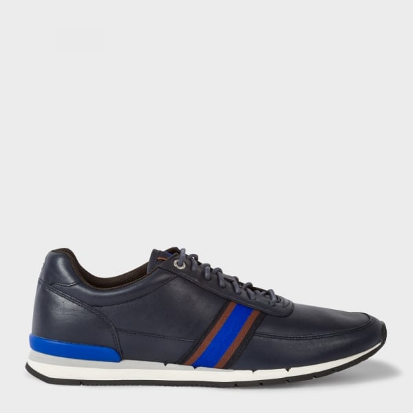 Paul Smith Shoes Swanson Galaxy Navy Leather Trainers