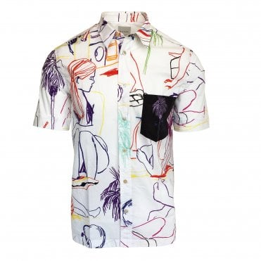 Paul Smith Slim Fit 'Beach Sketch' Print Shirt