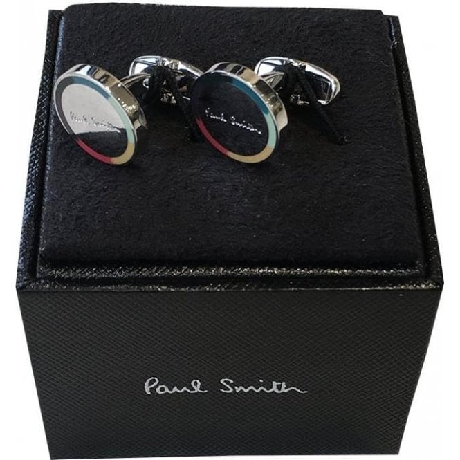 Paul Smith Stainless Steel Circular Rainbow Edge Cufflinks AUXC/CUFF/MLOGO 97