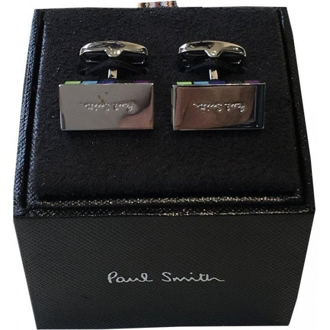 Paul Smith Stainless Steel Rectangular Cufflinks AUXC/CUFF/SLOGO 97