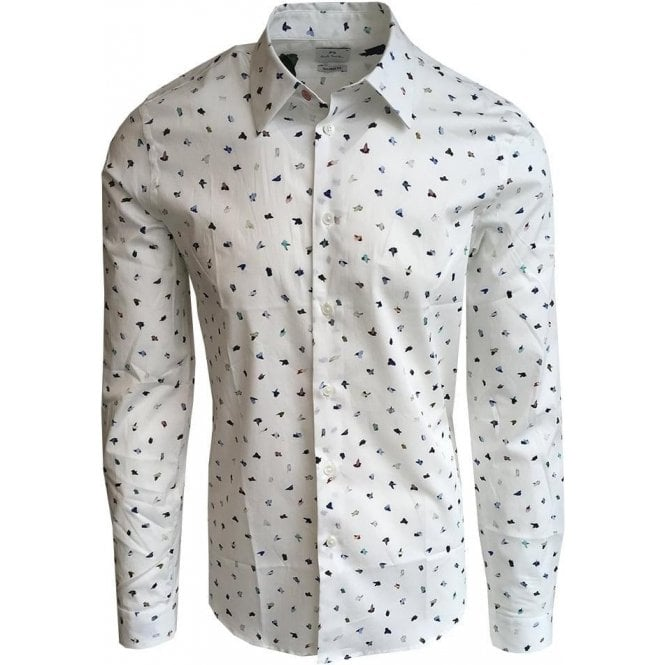 Paul Smith Tailored Fit White Paint Print Stretch Cotton Shirt PUXD/610P/656 02